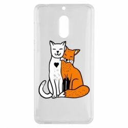 Чохол для Nokia 6 Fox and cat heart - FatLine