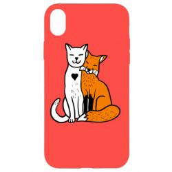 Чохол для iPhone XR Fox and cat heart
