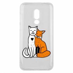 Чохол для Meizu 16 Fox and cat heart - FatLine