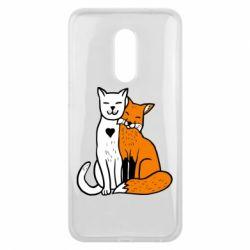 Чохол для Meizu 16 plus Fox and cat heart - FatLine