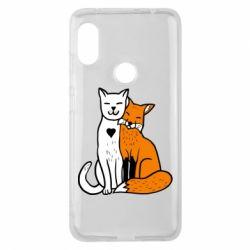 Чохол для Xiaomi Redmi Note Pro 6 Fox and cat heart
