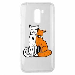 Чохол для Xiaomi Pocophone F1 Fox and cat heart - FatLine