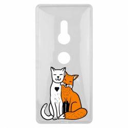 Чохол для Sony Xperia XZ2 Fox and cat heart - FatLine