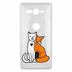 Чохол для Sony Xperia XZ2 Compact Fox and cat heart - FatLine