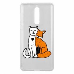 Чохол для Nokia 8 Fox and cat heart - FatLine