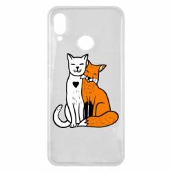 Чохол для Huawei P Smart Plus Fox and cat heart - FatLine