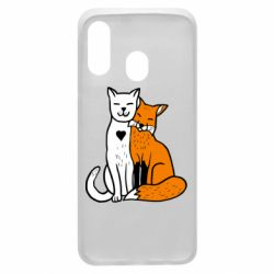 Чохол для Samsung A40 Fox and cat heart