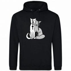 Мужская толстовка Fox and cat heart