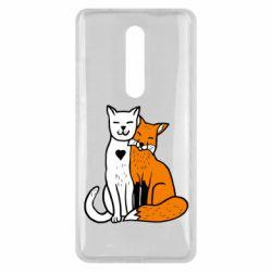 Чехол для Xiaomi Mi9T Fox and cat heart
