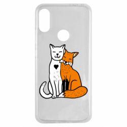 Чехол для Xiaomi Redmi Note 7 Fox and cat heart