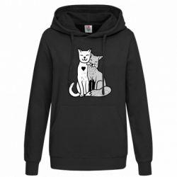 Женская толстовка Fox and cat heart