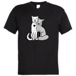 Мужская футболка  с V-образным вырезом Fox and cat heart