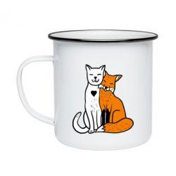Кружка емальована Fox and cat heart