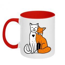 Кружка двоколірна 320ml Fox and cat heart