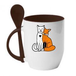 Кружка с керамической ложкой Fox and cat heart