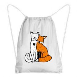 Рюкзак-мішок Fox and cat heart