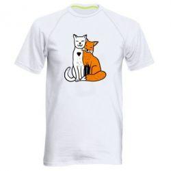 Мужская спортивная футболка Fox and cat heart