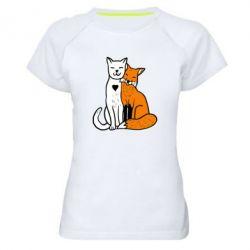 Женская спортивная футболка Fox and cat heart