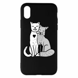 Чохол для iPhone X/Xs Fox and cat heart