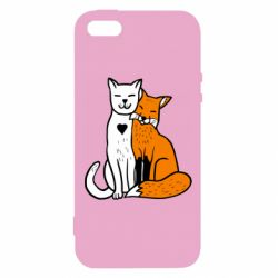 Чохол для iphone 5/5S/SE Fox and cat heart