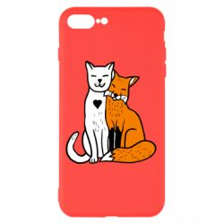 Чохол для iPhone 8 Plus Fox and cat heart