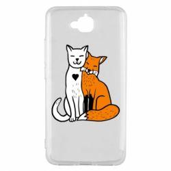 Чохол для Huawei Y6 Pro 2018 Fox and cat heart - FatLine