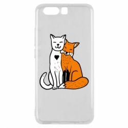 Чохол для Huawei P10 Fox and cat heart - FatLine
