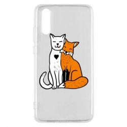 Чохол для Huawei P20 Fox and cat heart - FatLine