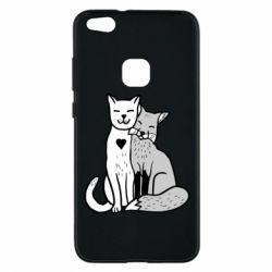 Чохол для Huawei P10 Lite Fox and cat heart - FatLine