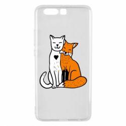 Чохол для Huawei P10 Plus Fox and cat heart - FatLine