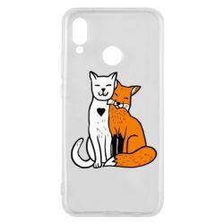 Чохол для Huawei P20 Lite Fox and cat heart - FatLine