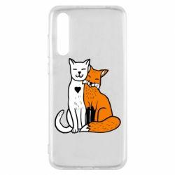 Чохол для Huawei P20 Pro Fox and cat heart - FatLine