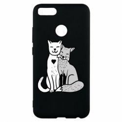Чохол для Xiaomi Mi A1 Fox and cat heart