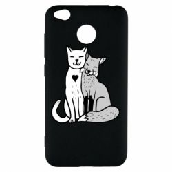 Чохол для Xiaomi Redmi 4x Fox and cat heart - FatLine