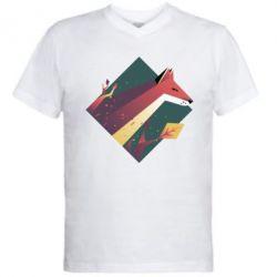 Мужская футболка  с V-образным вырезом Fox Art Minimalism