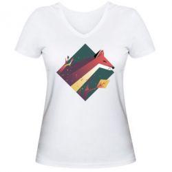 Женская футболка с V-образным вырезом Fox Art Minimalism