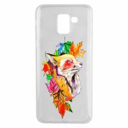 Чехол для Samsung J6 Fox in autumn leaves