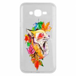 Чехол для Samsung J7 2015 Fox in autumn leaves
