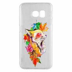 Чехол для Samsung S6 EDGE Fox in autumn leaves