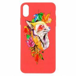 Чехол для iPhone Xs Max Fox in autumn leaves