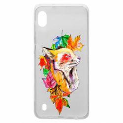 Чехол для Samsung A10 Fox in autumn leaves