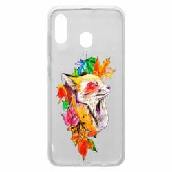 Чехол для Samsung A20 Fox in autumn leaves