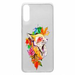 Чехол для Samsung A70 Fox in autumn leaves
