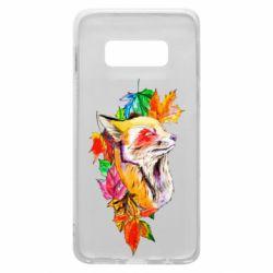 Чехол для Samsung S10e Fox in autumn leaves