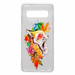 Чехол для Samsung S10 Fox in autumn leaves