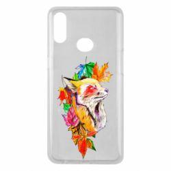 Чехол для Samsung A10s Fox in autumn leaves