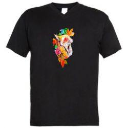 Мужская футболка  с V-образным вырезом Fox in autumn leaves