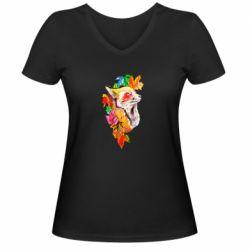 Женская футболка с V-образным вырезом Fox in autumn leaves