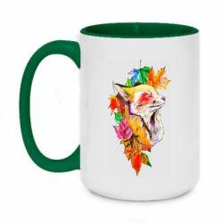 Кружка двухцветная 420ml Fox in autumn leaves