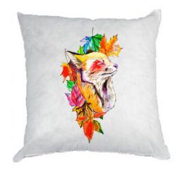 Подушка Fox in autumn leaves